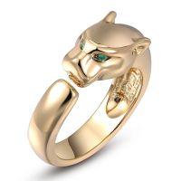 Roxy Damen Ring Leoparden Ring Grüne Kristall Augen Gold Green NEU & OVP