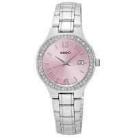 Seiko Uhr SUR787P1 Damenuhr Silber Rosa Edelstahl Datum Strass Watch NEU & OVP