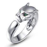 Roxy Damen Ring Leoparden Ring Grüne Kristall Augen Silber Silver NEU & OVP