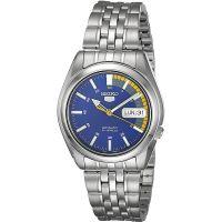 Seiko 5 Gent Uhr SNK371K1 Herren Automatikuhr Silber Blau Gelb Watch NEU & OVP