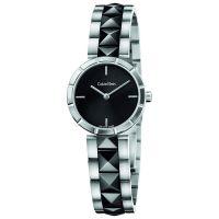Calvin Klein Uhr K5T33C41 Edge Damen Silber Schwarz Swiss Made NEU & OVP