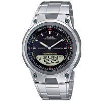 Casio Uhr AW-80D-1A Analog Digital Herren Edelstahl Schwarz Silber NEU & OVP
