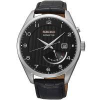 Seiko Kinetic Uhr SRN051P1 Herrenuhr Silber Schwarz Leder Datum Watch NEU & OVP