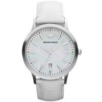 Emporio Armani Uhr AR2465 Damen Weiß Silber Perlmutt Leder Lady Watch NEU & OVP