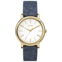 Timex Uhr TW2P63800 Damen Lederarmband Blue Denim Blau Gold Watch
