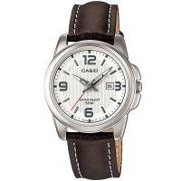 Casio Damenuhr LTP-1314L-7A Armbanduhr Leder Silber Braun Datum watch NEU & OVP