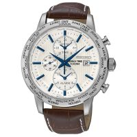 Seiko Uhr SPL051P1 Herrenuhr Chronograph Weiß Braun Leder Datum Watch NEU & OVP