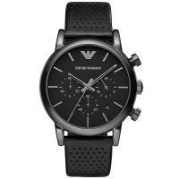 Emporio Armani Uhr AR1737 Herren Chronograph Schwarz Leder Black Watch NEU & OVP