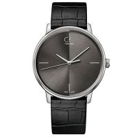 Calvin Klein Uhr K2Y2X1C3 Herren Leder Schwarz Silber Swiss Made Men NEU & OVP