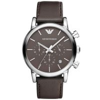 Emporio Armani Uhr AR1734 Unisex Braun Silber Leder Chronograph Watch NEU & OVP