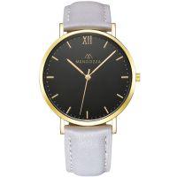 Mendozza Uhr MW-RG0204H-EN Midnight Black Armbanduhr Leder Schwarz Gold