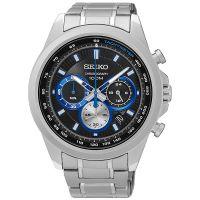 Seiko Uhr SSB243P1 Herrenuhr Chronograph Silber Schwarz Blau Edelstahl NEU & OVP
