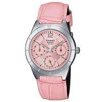 Casio Uhr LTP-2069L-4AVEF Damen Armbanduhr Leder Pink Silber Datum NEU & OVP