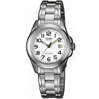 Casio Uhr LTP-1259PD-7B Damen Armbanduhr Edelstahl Weiß Silber Datum NEU & OVP