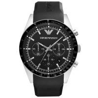 Emporio Armani Uhr AR5985 Herren Chronograph Schwarz Silber Edelstahl NEU & OVP