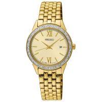 Seiko Uhr SUR688P1 Damenuhr Edelstahl Gold Datum Strass Watch NEU & OVP