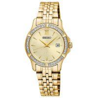 Seiko Uhr SUR728P1 Damenuhr Edelstahl Gold Datum Strass Watch NEU & OVP