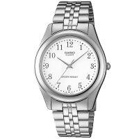 Casio Uhr MTP-1129PA-7B Herren Armbanduhr Edelstahl Silber Weiß watch NEU & OVP