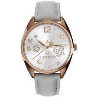 Esprit Uhr ES108922004 Damen Lederarmband Grau Roségold Watch Women NEU & OVP