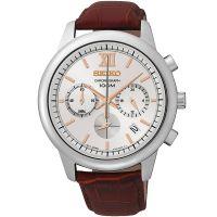 Seiko Uhr SSB143P1 Herrenuhr Chronograph Rot Braun Leder Datum Watch NEU & OVP