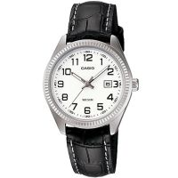 Casio Uhr LTP-1302PL-7B Damen Armbanduhr Leder Weiß Schwarz Datum NEU & OVP