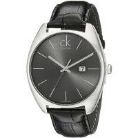 Calvin Klein Uhr K2F21107 Herren Leder Schwarz Silber Swiss Made Men NEU & OVP