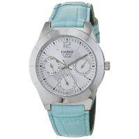 Casio Uhr LTP-2069L-7A2VEF Damen Lederarmband Hellblau Silber Datum NEU & OVP