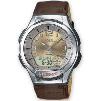 Casio Uhr AQ-180WB-5B Analog Digital Herren Damen Textil Gold Watch NEU & OVP
