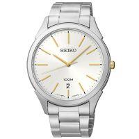 Seiko Uhr SGEG71P1 Herrenuhr Silber Gold Datum 100m WR Edelstahl Watch NEU & OVP