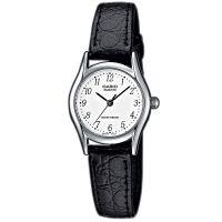 Casio Uhr LTP-1154PE-7B Damen Armbanduhr Leder Silber Schwarz Watch NEU & OVP