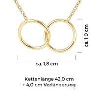 Mendozza Kette MJ-NE02345L Damen Collier Gold Doppelring Anhänger