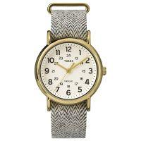 Timex Uhr TW2P71900 WEEKENDER Damen Herren Tweed Braun Gold Watch NEU & OVP