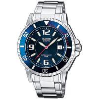 Casio Uhr MTD-1053D-2A Herren Edelstahl Blau Silber B-WARE mit Gebrauchsspuren