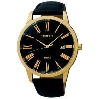 Seiko Uhr SGEH14P1 Herrenuhr Gold Schwarz Leder Datum Watch NEU & OVP