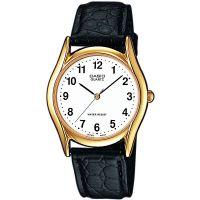 Casio Uhr MTP-1154PQ-7B Herren Armbanduhr Leder Weiß Gold Schwarz Men NEU & OVP