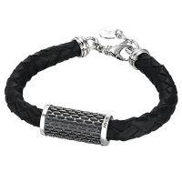 Joop Armband JPBR90236A210 Damen Leder 925er Sterling Silber Schwarz NEU & OVP