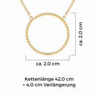 Mendozza Kette MJ-NE02340L Damen Collier Gold Ring Anhänger