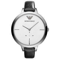 Emporio Armani Uhr AR7304 Damenuhr Silber Schwarz Leder Lady Watch NEU & OVP