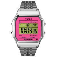 Timex Uhr TW2P65000 TIMEX 80 Vintage Herren Damen Digital Silber Pink NEU & OVP