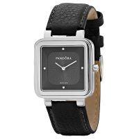 Pandora Damen Uhr 811029BK Leder Armband Schwarz Silber Lady Watch NEU & OVP