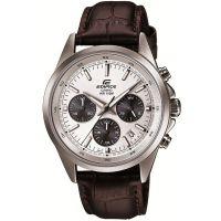 Casio Edifice Herrenuhr EFR-527L-7AVUEF Armbanduhr Leder Silber Datum NEU & OVP