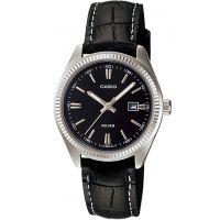 Casio Uhr LTP-1302L-1A Damen Armbanduhr Leder Schwarz Datum Watch NEU & OVP