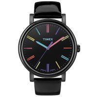 Timex Uhr T2N790 ORIGINALS Damen Leder Schwarz Gelb Rosa Blau Watch NEU & OVP
