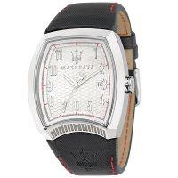Maserati Uhr R8851105004 Calandra Herrenuhr Leder Schwarz Silber Watch NEU & OVP