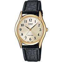 Casio Uhr MTP-1154PQ-7B2 Herren Armbanduhr Leder Schwarz Gold Watch NEU & OVP