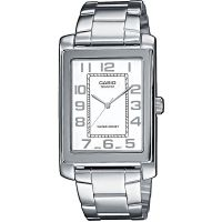 Casio Uhr MTP-1234PD-7B Herren Armbanduhr Edelstahl Weiß Silber Watch NEU & OVP