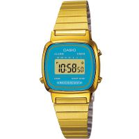Casio Uhr LA670WGA-2DF Digital Damen Armbanduhr Gold Blau Watch Blue NEU & OVP