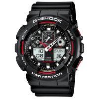 Casio G-Shock Uhr GA-100-1A4ER Herren Digital Analog Schwarz Rot Sport NEU & OVP