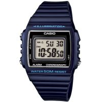 Casio Digitaluhr W-215H-2A Armbanduhr Herren Damen Blau Schwarz Silber NEU & OVP