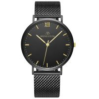 Mendozza Uhr MW-RG0404H-BM Midnight Black Armbanduhr Schwarz Gold